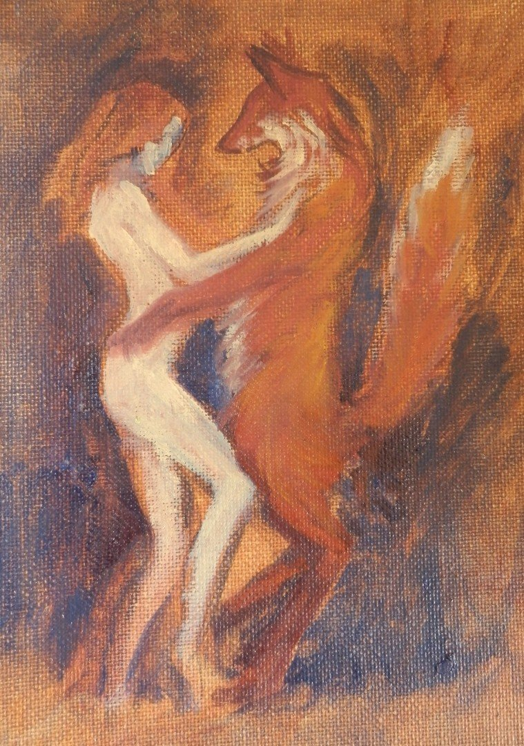 Woman dancing with a Fox